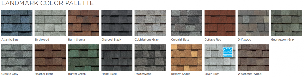 Landmark shingle color palette