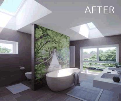 Velux skylight in a well lit bathroom