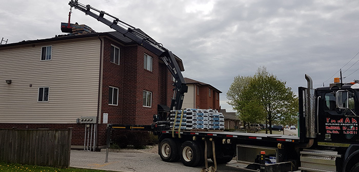 make roofing easy with shingles and seamless eavestough rooftop delivery