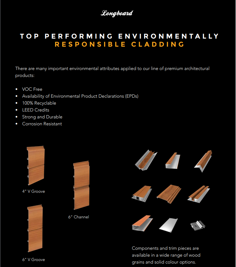 premium architectural products with environmentally friendly attributes