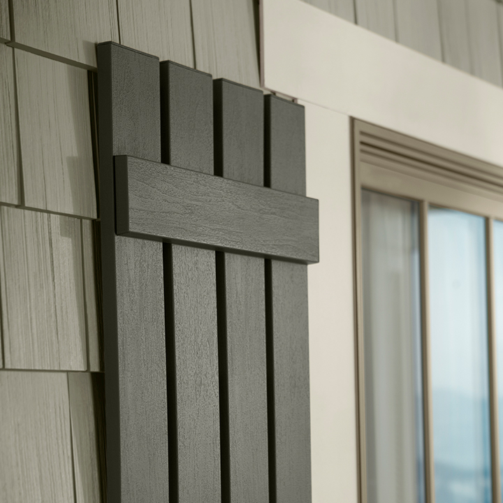 Napco shutters in board and batten open feature