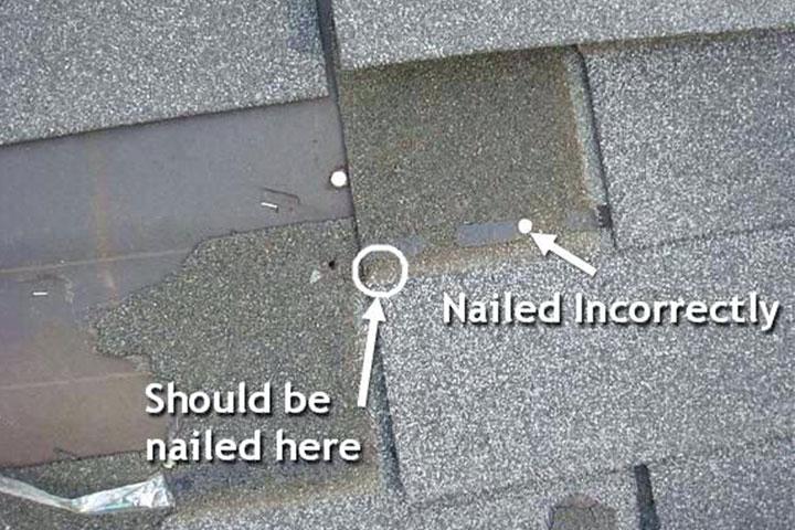 Improper Shingle Nailing