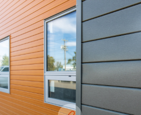 grey and brown siding glass windows